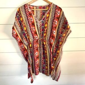 YAMAMAY Colorful Pool Cover Up with Beaded Details